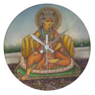 Göttin Samanya Lakshmi Vintage Gouache-Malerei Große Wanduhr