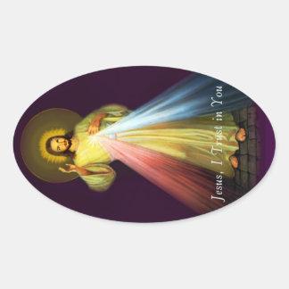 Göttliche Gnaden-Jesus-Oval-Aufkleber Ovaler Aufkleber