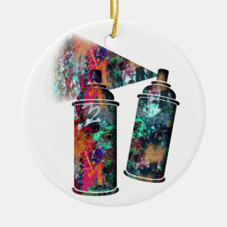 Graffiti-und Farben-Spritzer-Spray-Dosen Keramik Ornament