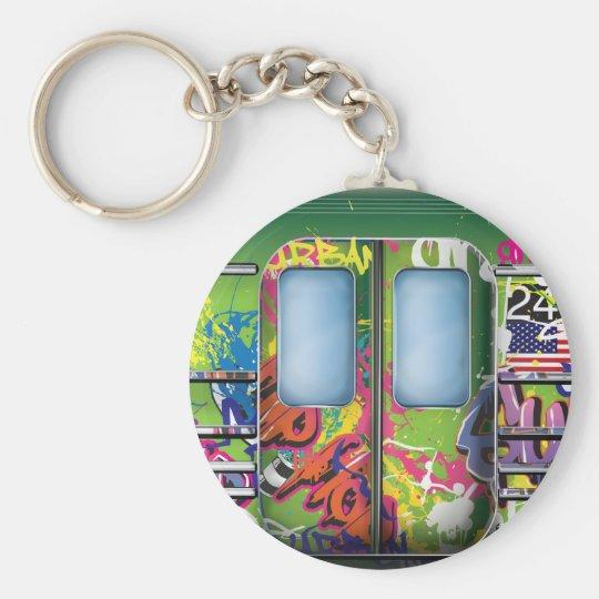 Graffiti-Untergrundbahn-Grün Standard Runder Schlüsselanhänger