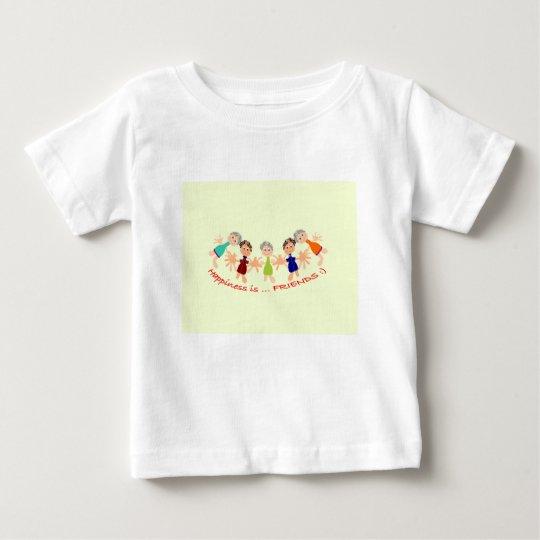 Grafikzeichen mit Text Happiness_is_Friends Baby T-shirt