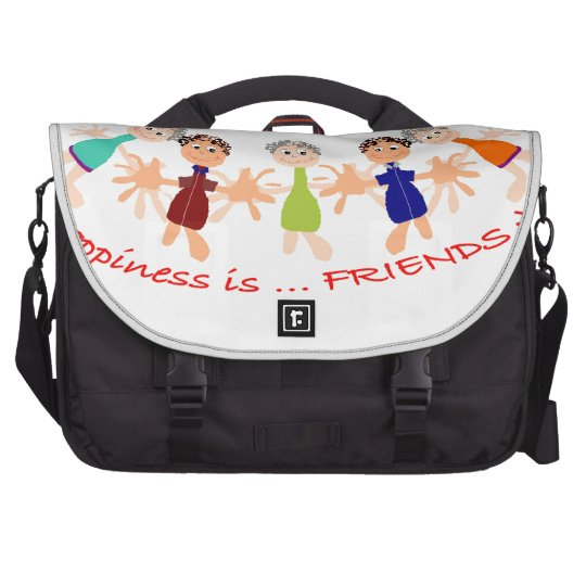 Grafikzeichen mit Text Happiness_is_Friends Laptop Tasche