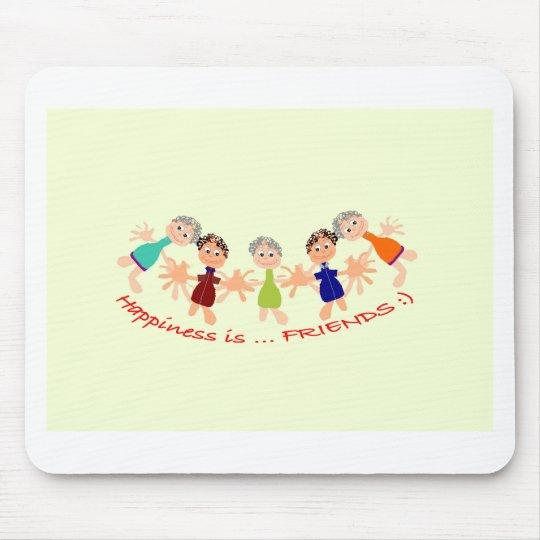 Grafikzeichen mit Text Happiness_is_Friends Mousepad