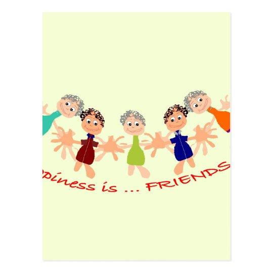 Grafikzeichen mit Text Happiness_is_Friends Postkarte