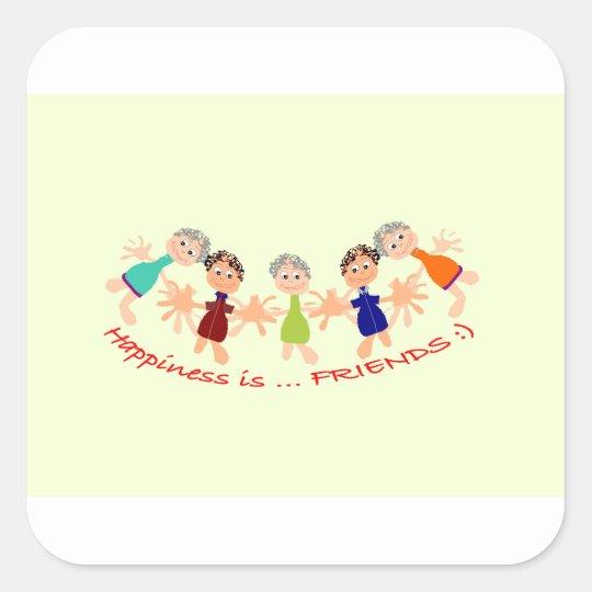 Grafikzeichen mit Text Happiness_is_Friends Quadratischer Aufkleber