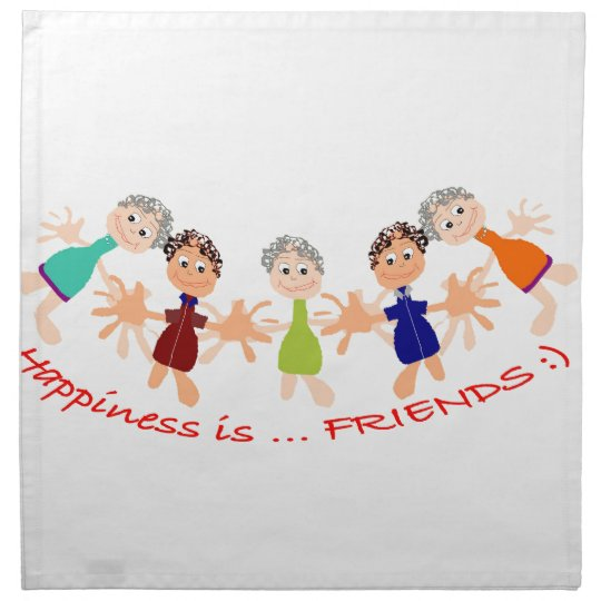 Grafikzeichen mit Text Happiness_is_Friends Stoffserviette