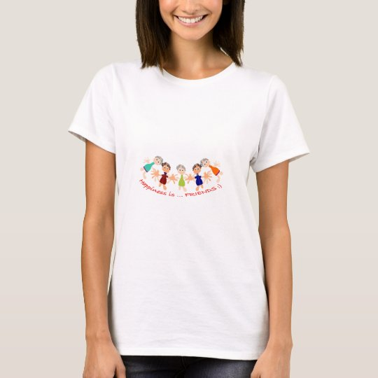 Grafikzeichen mit Text Happiness_is_Friends T-Shirt