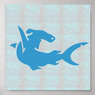 Grafische Dekohaifischwalfischseesegelreise Poster