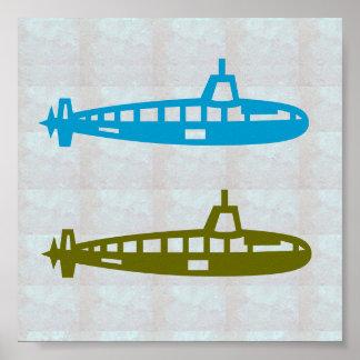 Grafische Dekotauchen Seefische versenden Poster