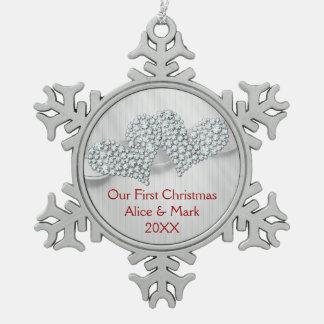 Grafische Diamant-Herzen   unser erstes Schneeflocken Zinn-Ornament