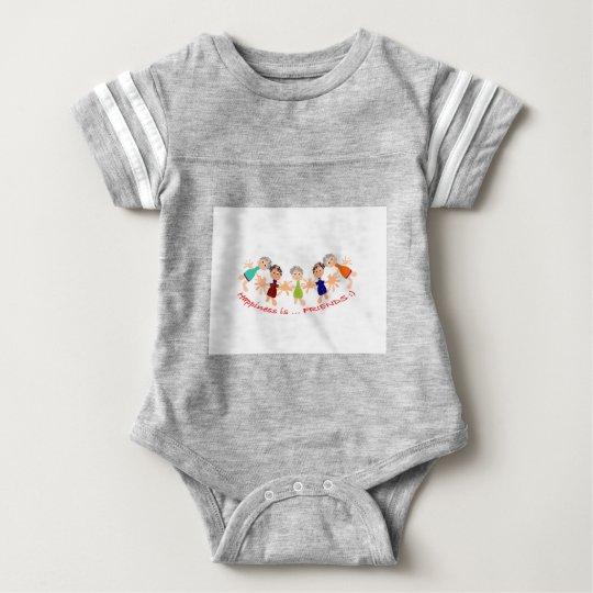 """Grafische Kunst mit """"Glück ist… Freund"""" Text Baby Strampler"""