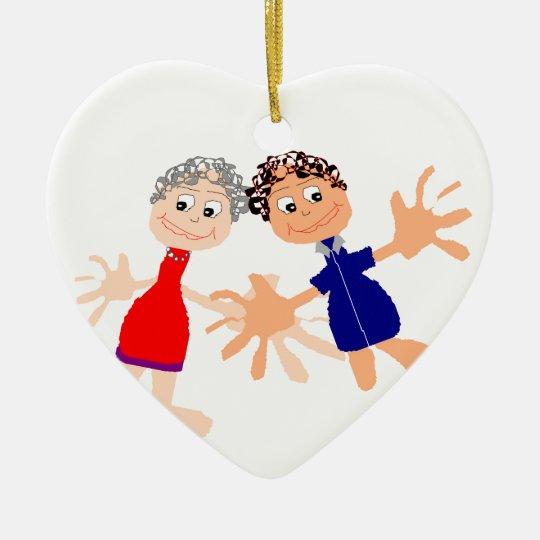 Grafische Kunst - zwei Freunde Keramik Herz-Ornament