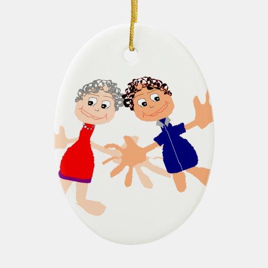 Grafische Kunst - zwei Freunde Ovales Keramik Ornament