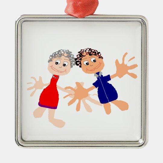 Grafische Kunst - zwei Freunde Quadratisches Silberfarbenes Ornament