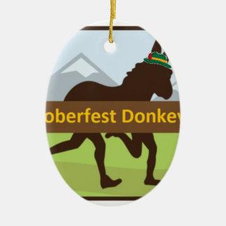 Grafischer w Hut des Donktoberfest Esel-Schlages Ovales Keramik Ornament
