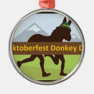 Grafischer w Hut des Donktoberfest Esel-Schlages Silbernes Ornament