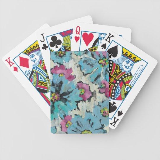 Grafisches rosa und blaues Blumen Bicycle Spielkarten
