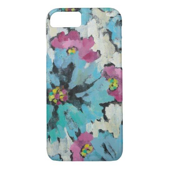 Grafisches rosa und blaues Blumen iPhone 7 Hülle