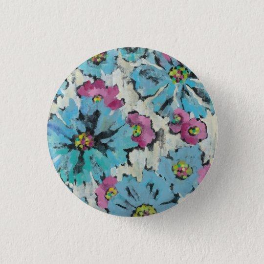 Grafisches rosa und blaues Blumen Runder Button 2,5 Cm