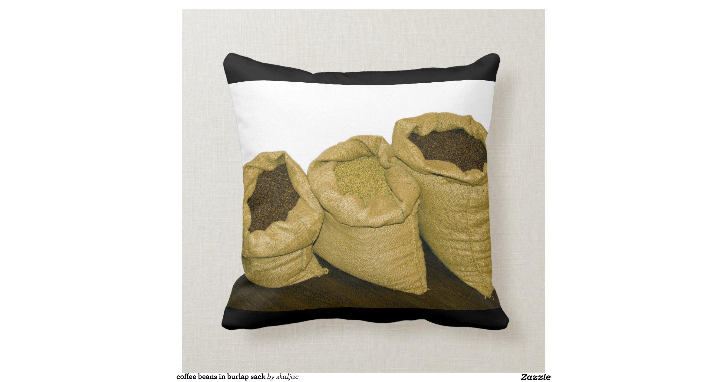 Grains de caf dans le sac toile de jute oreillers zazzle - Sac de cafe en grain ...