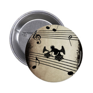 Grammophon Music - DJ & Retro Vinyl Headphones Anstecknadelbutton