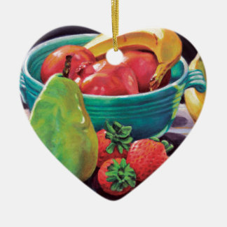 Granatapfel-Bananen-Beeren-Birnen-Reflexion Keramik Herz-Ornament