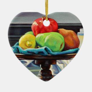Granatapfel-Birnen-Zitronen-Sockel Keramik Herz-Ornament