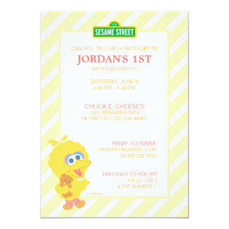 Grand anniversaire de bébé d'oiseau carton d'invitation  12,7 cm x 17,78 cm