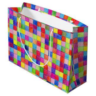 Grand Sac Cadeau Coloré coloré dans des carrés de papier de