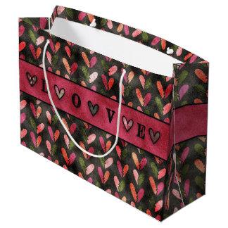 Grand Sac Cadeau Saint-Valentin - motifs de coeur d'amusement