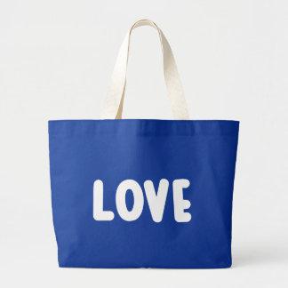 Grand Tote Bag Amour bleu et blanc - mariage, douche nuptiale