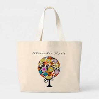 Grand Tote Bag Cercle magique de forêt du mariage d'arbre de