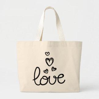 Grand Tote Bag Flèches d'amour et coeurs noirs - mariage