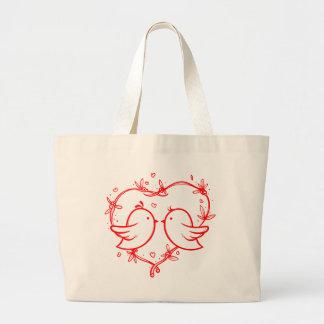 Grand Tote Bag Perruches rouges de coeur - mariage, douche