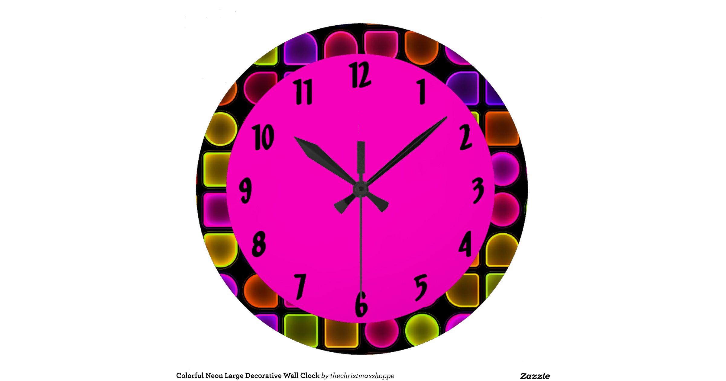 grande horloge murale d corative au n on color e zazzle. Black Bedroom Furniture Sets. Home Design Ideas