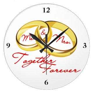 Grande Horloge Ronde Anneaux de mariage de M. et de Mme Together