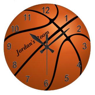 Grande Horloge Ronde Basket-ball de l'horloge des enfants