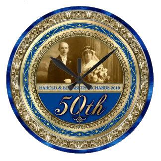 Grande Horloge Ronde Bleu royal d'or de photo d'anniversaire de mariage