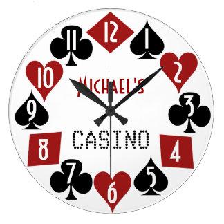 Grande Horloge Ronde Casino personnalisable 2 de pièce de tisonnier