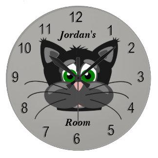 Grande Horloge Ronde Chat mignon de l'horloge des enfants