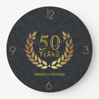 Grande Horloge Ronde cinquantième Anniversaire de mariage d'or