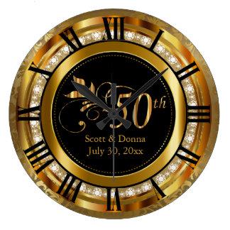Grande Horloge Ronde Cinquantième anniversaire de mariage d'or élégant