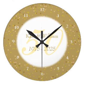 Grande Horloge Ronde cinquantième Confettis de la poussière d'or