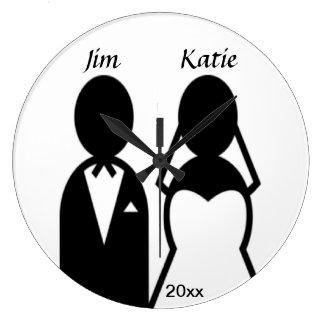 Grande Horloge Ronde Couples de mariage d'icône