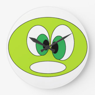 Grande Horloge Ronde Enfants verts drôles mignons de conception de