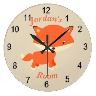 Grande Horloge Ronde Fox mignon de bébé de l'horloge des enfants