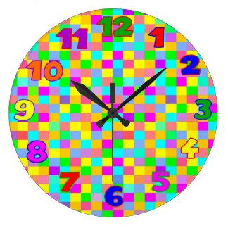 Grande Horloge Ronde La pièce de l'enfant multicolore