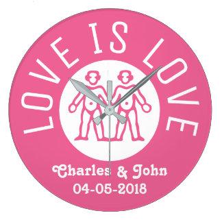 Grande Horloge Ronde L'amour est rose de couples du gay pride LGBT de