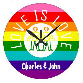 Grande Horloge Ronde Logo gai d'arc-en-ciel de la fierté LGBT de