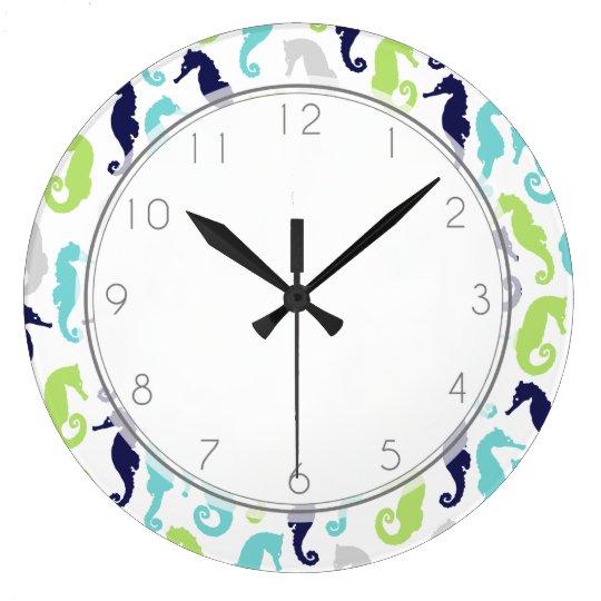 Grande Horloge Ronde Motif frais d'hippocampes
